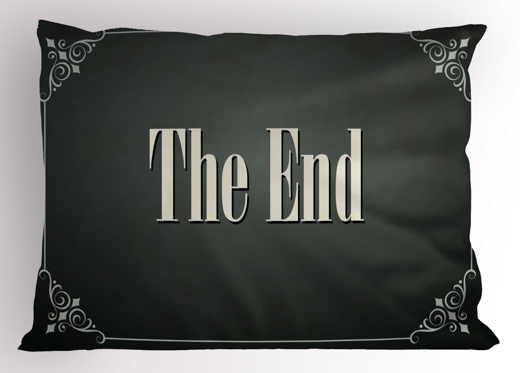 Ambesonne Movie Theater Pillow Sham, The End Quote with Swirled Frame on an Abstract Ombre Background, Decorative Standard Queen Size Printed Pillowcase, 30 X 20 inches, Charcoal Grey Cream