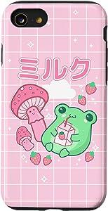 iPhone SE (2020) / 7 / 8 Cute Cottagecore Frog Strawberry Retro 90s Kawaii Aesthetic Case