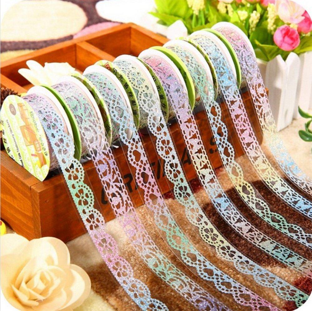 para /álbum de recortes manualidades regalo color al azar Spaufu 5 rollos de cinta adhesiva decorativa con purpurina en forma de encaje