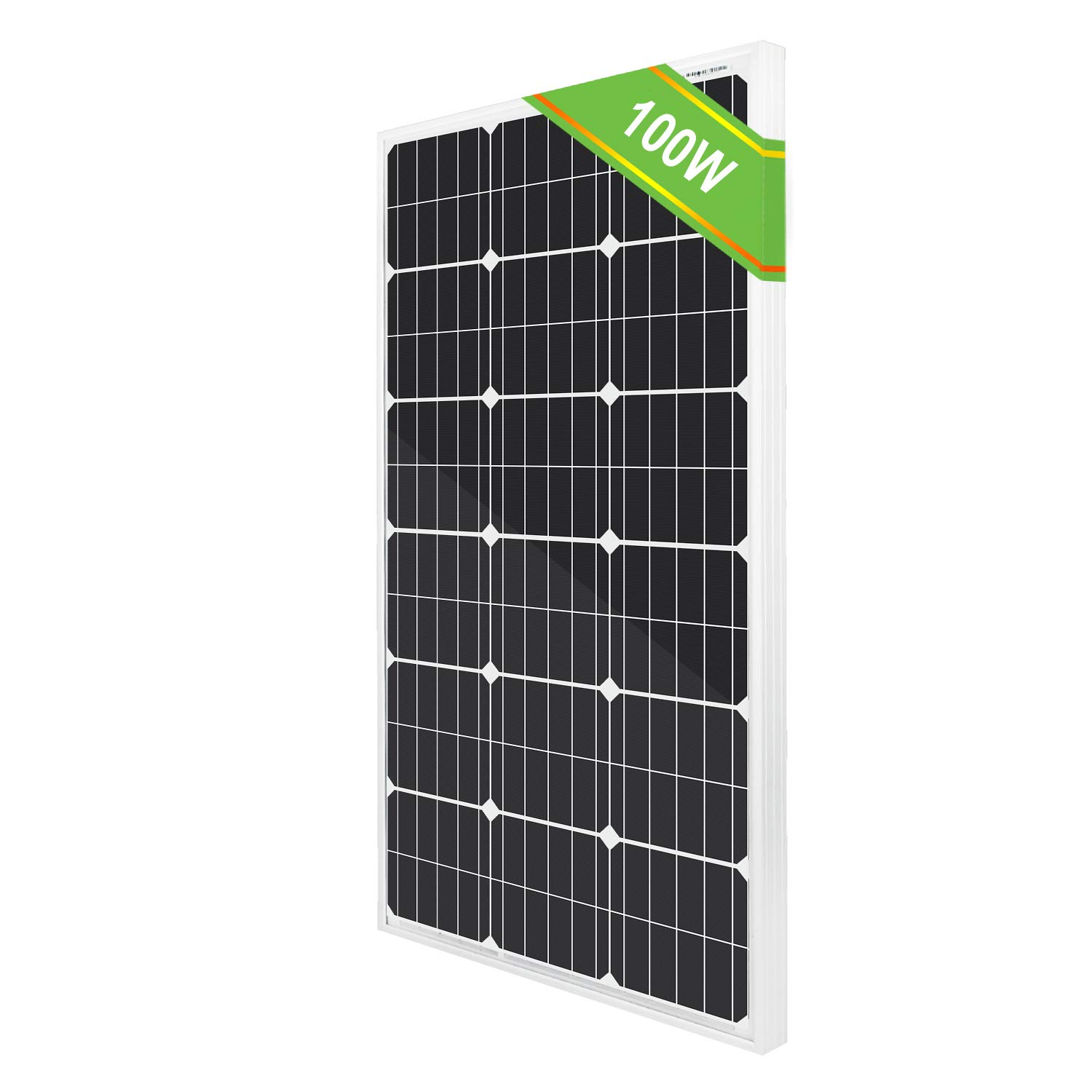 ECO-WORTHY 100 Watts 12 Volts Monocrystalline Photovoltaic Solar Panel High Efficiency Module for 12 Volt Battery Charging RV Marine Boat Off Grid Upgrade