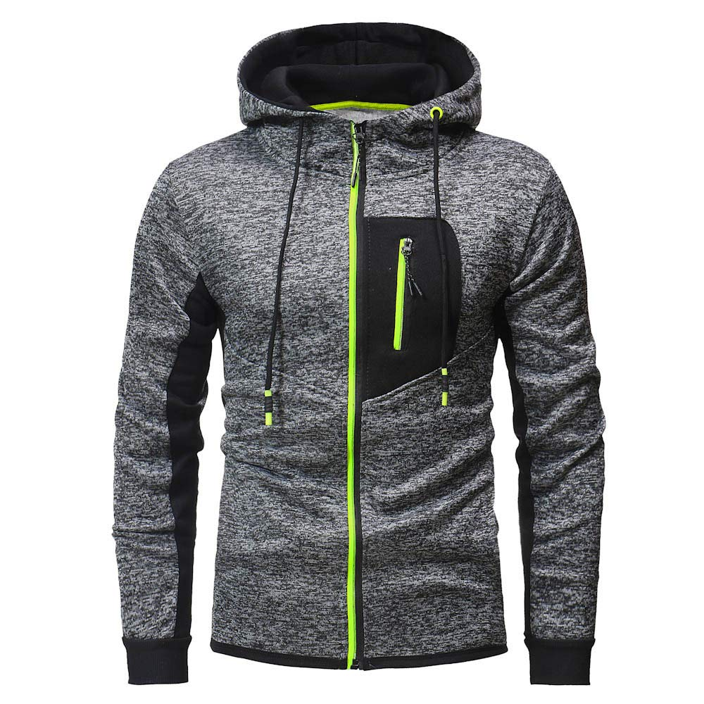 Mens Coats Winter Zip Casual Jackets Outwear Men Slim Pocket Fit Trench Coat Hoodie Jackets