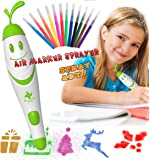 Airbrush Pen for Kids,12pcs Paint and Drawing Kit Washable Markers with Electric Spray Paint Pen Spray Art, Air Marker Sprayer Set for Children Drawing Toys, Art Set for Kids, Arts and Crafts