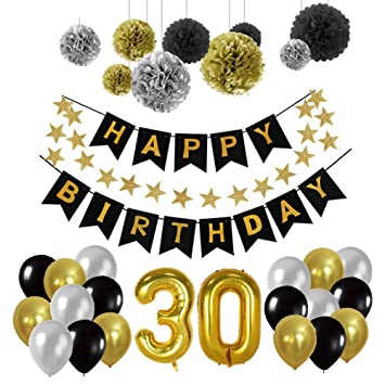 Toupons 30th Birthday Party Decorations Kit Happy Banner Balloons 30pcs Black Silver And