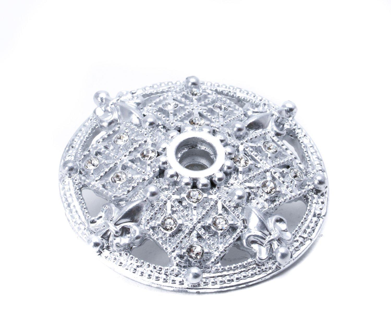 Carpe Diem Hardware 7628-24C Versailles Large Round Escutcheon with Swarovski Crystals, Platinum