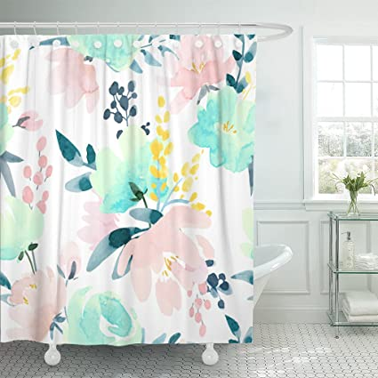 Amazoncom Tompop Shower Curtain Yellow Watercolor Floral Pattern