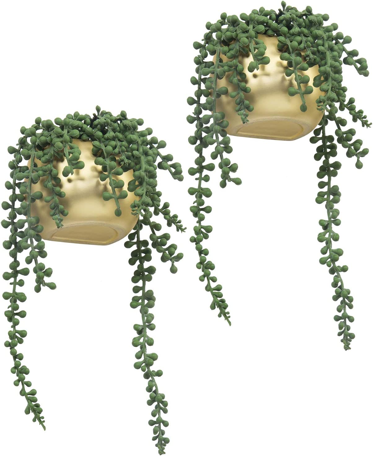 MyGift 10 Inch Wall-Mounted Artificial String of Pearls Plants in Brass Ceramic Planters, Set of 2