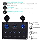Toggle Rocker Switch Panel Dual USB Socket