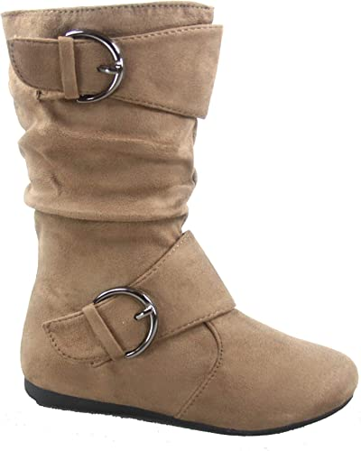 Girls Toddler Kids Slouchy Side Zipper Comfort Buckle Lace Up Combat Boots