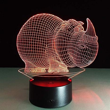 KangYD Cute Rhinoceros 3D Night Light, Creative LED Table ...