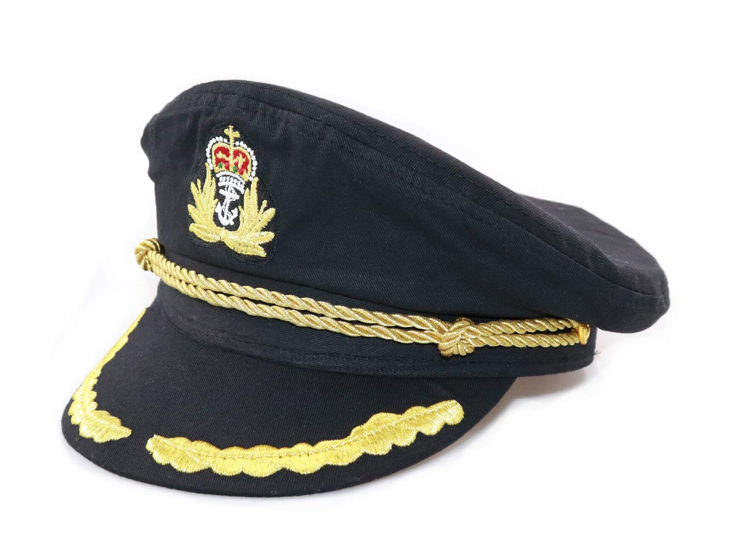 Ibeauti Unisex Adjustable Captain Costume Admiral Hat Cosplay Black Sailor Cap ( Black )
