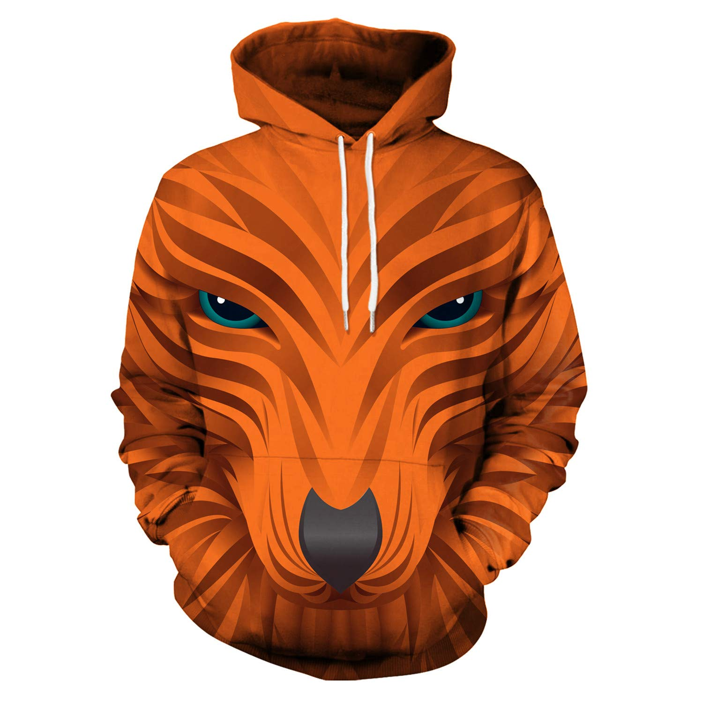Mrsrui Mens Women Athletic Pullover Hoodies Sweatshirt Orange by Mrsrui