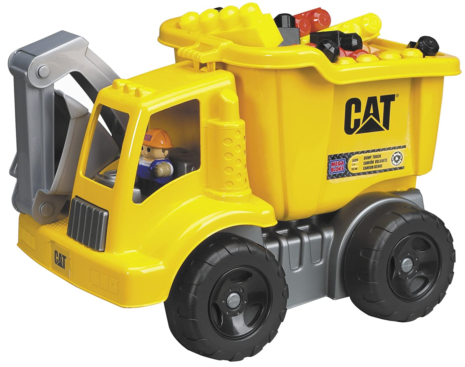 Amazon com mega bloks cat large vehicle dump truck toys games
