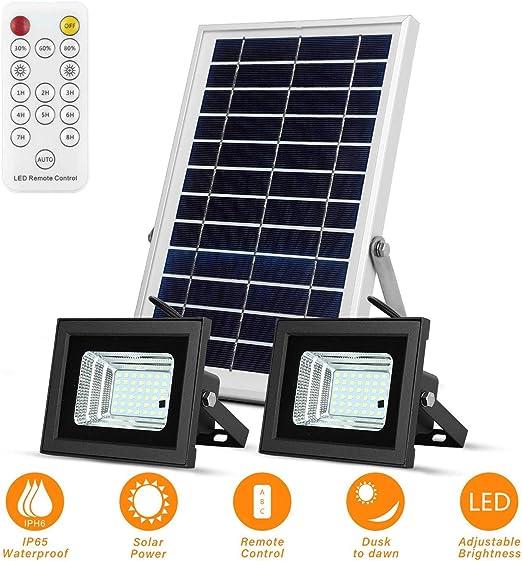 800 LM LED Foco LED Solar Exterior Control Remoto Luz de Seguridad con Energía Solar Iluminación de 120 ° Ajustable Y Temporizador Día Noche Inducción Automática IP65 para Jardin Piscina Césped Garaje: