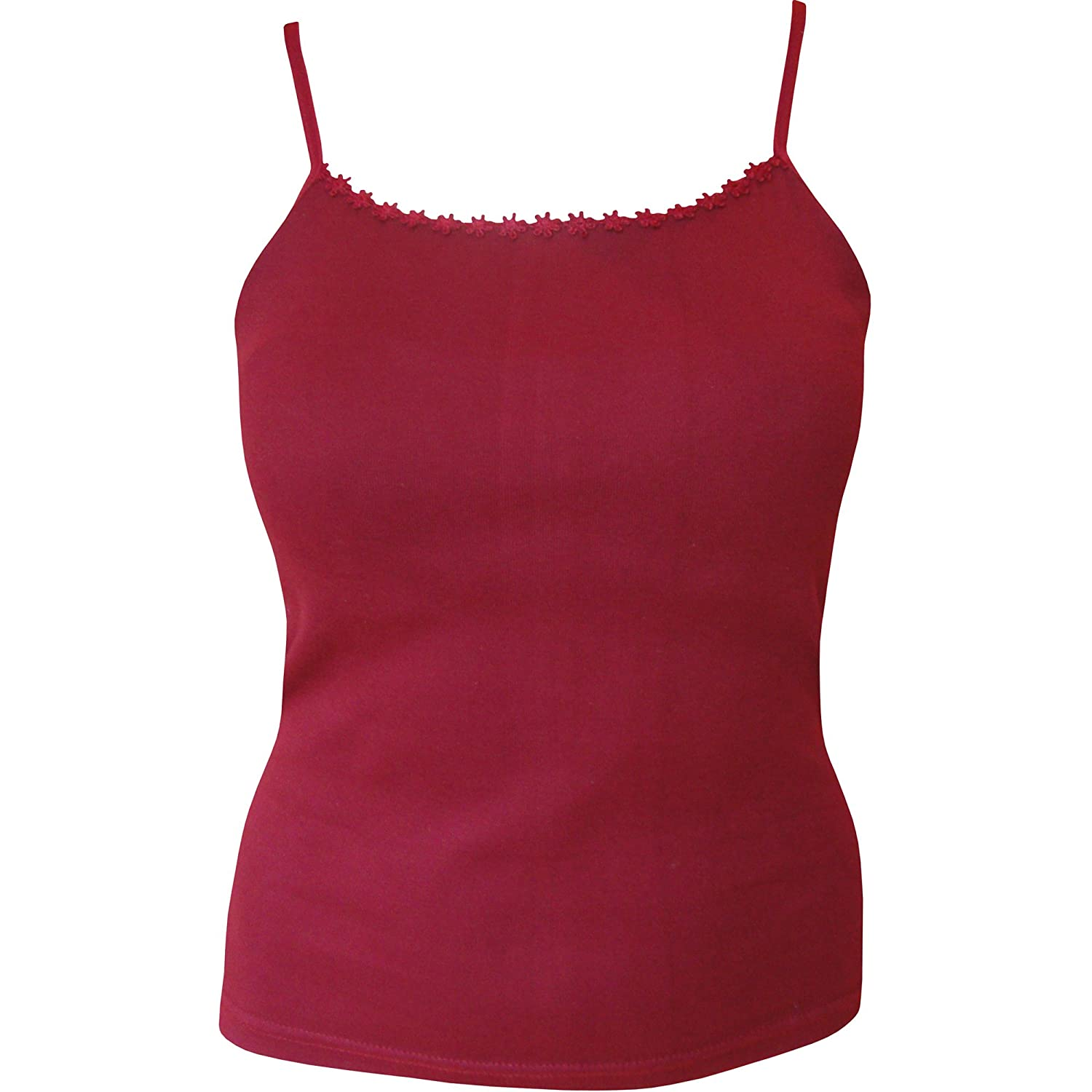 TeddyT's Ladies Plain Strappy Summer Vest Top With Floral Daisy Trim