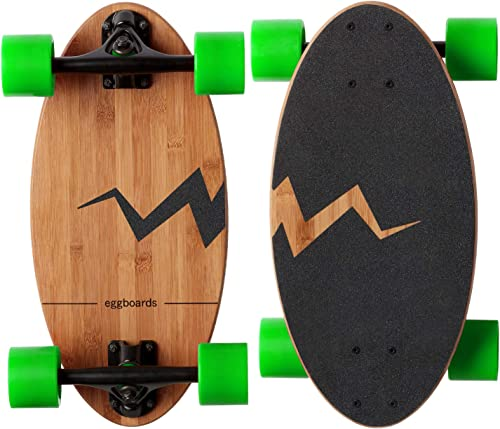 Eggboards Mini Longboard Cruiser Skateboard – The Original. Wide Small Bamboo Skateboards Ride Like Longboards. Complete Longboard for Adults and Kids