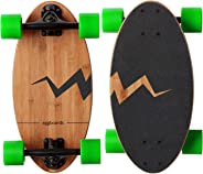 Eggboards Mini Longboard Cruiser Skateboard - The Original. Wide Small Bamboo Skateboards Ride Like Longboards. Complete Long