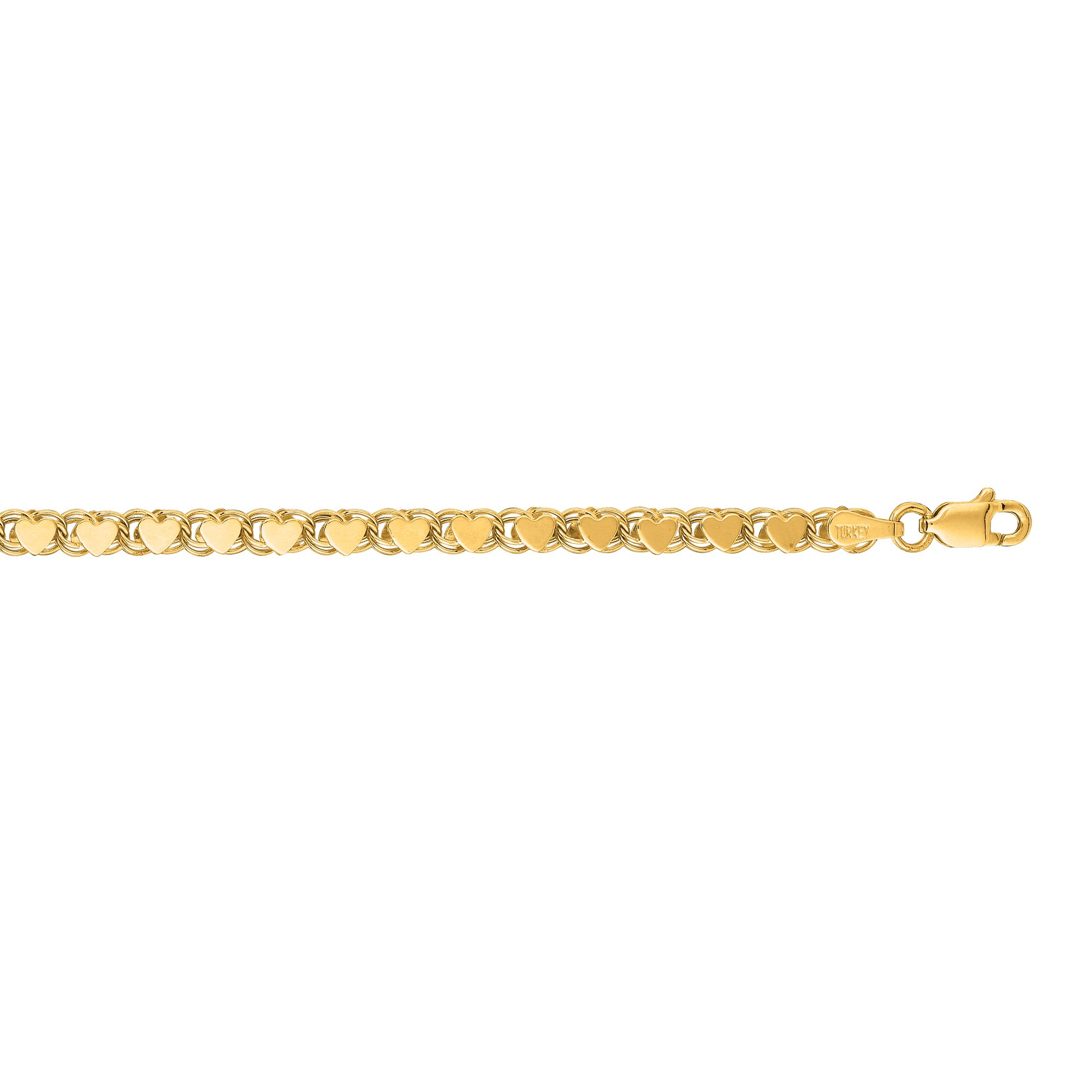 Luxurman 14K Yellow Solid Gold 3.5mm wide Diamond Cut Heart Ring Chain 10'' Anklet with Lobster Clasp