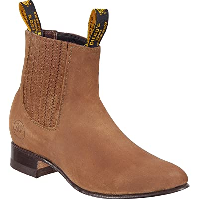 Mens Genuine Leather Classic Short Ankle Nobuk Leather Cowboy Western Boot Charro Botin | Western