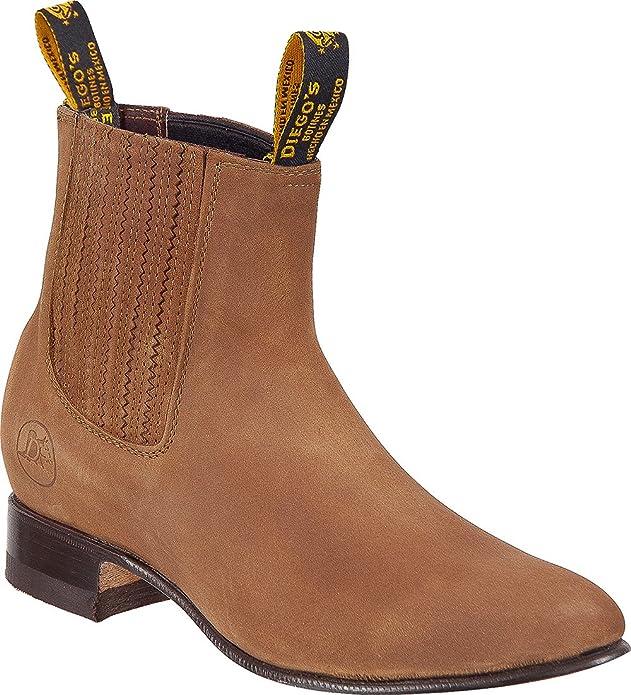 Amazon.com | Mens Genuine Leather Classic Short Ankle Nobuk Leather Cowboy Western Boot Charro Botin | Western