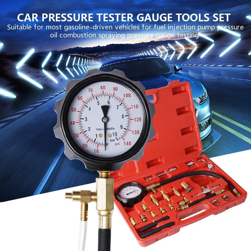 CarBole 0-140 PSI 8 Pieces Engine Compression Gauge Set Kit Cylinder Dianostic Tester with Case Automotive Tool Set