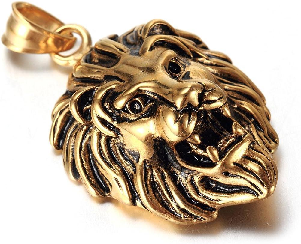 OAKKY Mens Sainless Steel Punk Biker Lion Head Pendant Necklace Five Colors Small Style