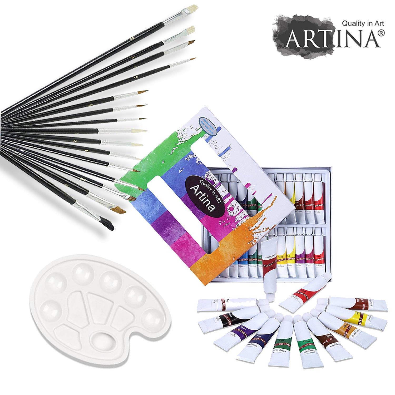 Artina Set per dipingere con 12 colori ad acquerello + set da 15 pennelli + tavolozza - per artisti e amanti pittura