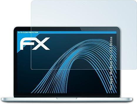 2X ultraklare FX Displayschutzfolie atFolix Schutzfolie kompatibel mit Apple MacBook Pro 15 Retina Folie