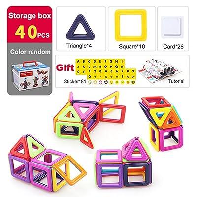 40pcs Kit Petits Blocs de Construction Magnétiques, 3D Jouet Éducatif et Créatif de Construction pour Enfant