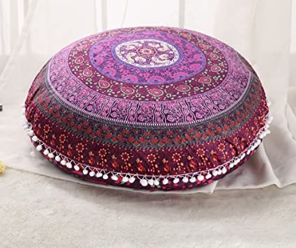 Large Ombre Mandala Ottoman Pouf Ethnic Round Pouf Footstool Floor Pouf Cover And To Have A Long Life. Ottomans & Footstools