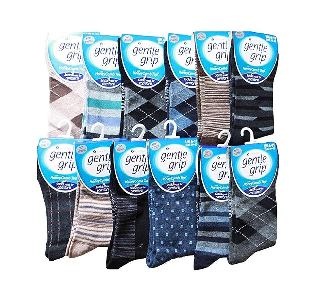 12 Pairs Mixed Mens Gentle Grip Honey Comb Non Elastic Socks 6-11