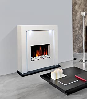 Electric Fireplace Fire Surround Living Room Floor Standing LED Lights MDF Inset & CREME FREE STANDING WALL MOUNTED ELECTRIC FIRE MDF SURROUND ...