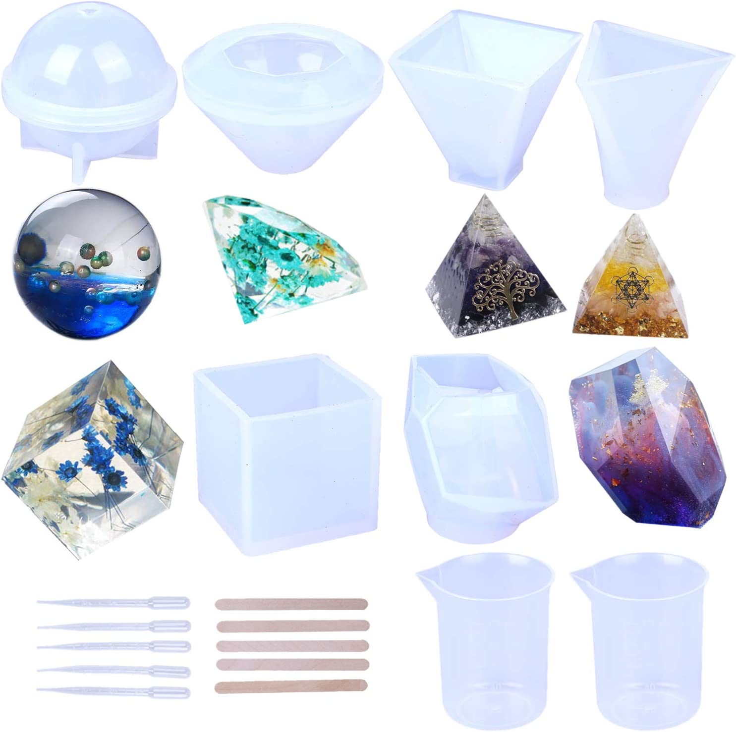 DJ/_M/_199 95x95mm Pyramid Shape Silicone Mold Resin Silicone Mould Jewelry Making Epoxy Resin Molds Jewelry Earring Resin Mold