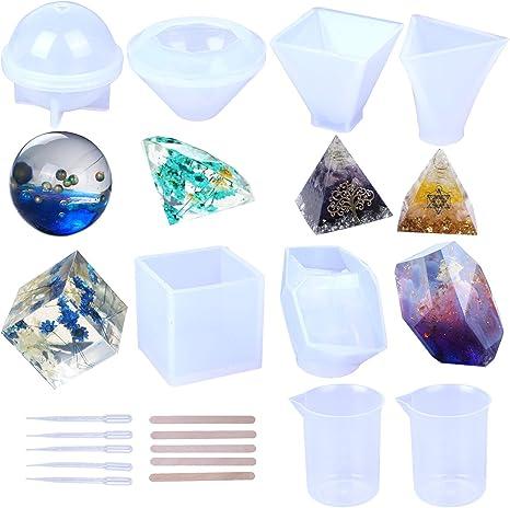 6 moldes de resina, pirámide, diamante, cubico, esfera, piramidal triangular, molde de silicona para: Amazon.es: Juguetes y juegos