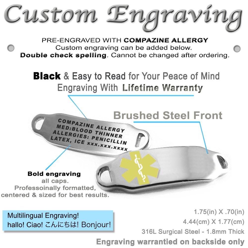 Pre-Engraved /& Customized Compazine Allergy Alert Bracelet Yellow My Identity Doctor Black /& White Millefiori Glass