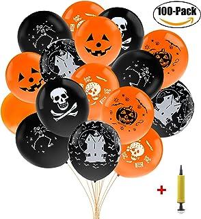 Fansport 100 Pezzi 12 '' aerostati di Halloween Spaventoso Gomma Palloncini Decorativi Decorazioni per Feste con Pompa a Mano