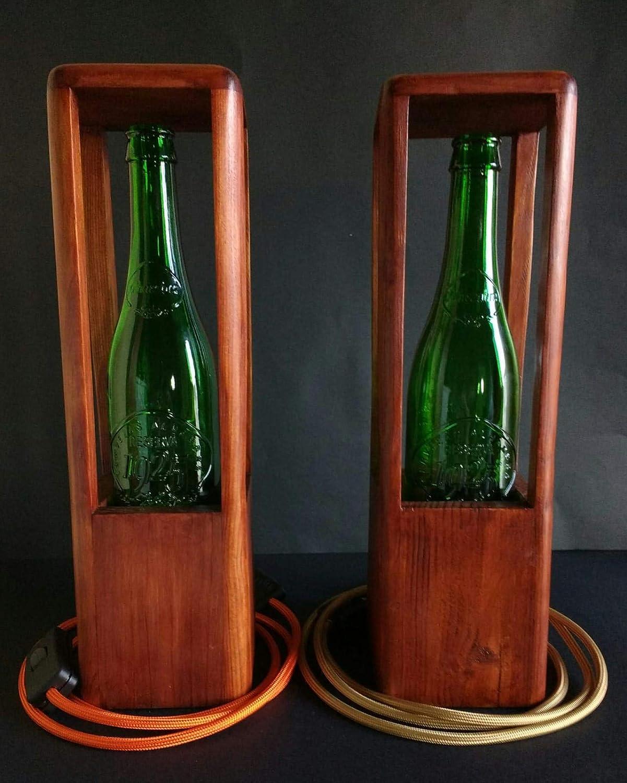 Lámpara de sobremesa de madera reciclada de palet hecho a mano