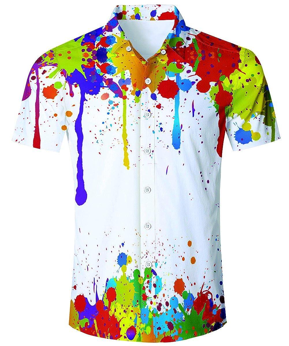TUONROAD Hawaiihemd Herren, 3D Printed Funky Hawaiihemd, Hawaiian Shirt Mens Short Sleeve Herren Ananas Shirts Hawaiian Style hh-20180411-01