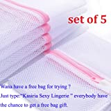 Kasiria Laundry Washing Bags,Clothing Washing Bags- 5 Medium for Laundry,Blouse, Hosiery, Stocking, Underwear, Bra and Lingerie, Travel Laundry Bag Pack of 5