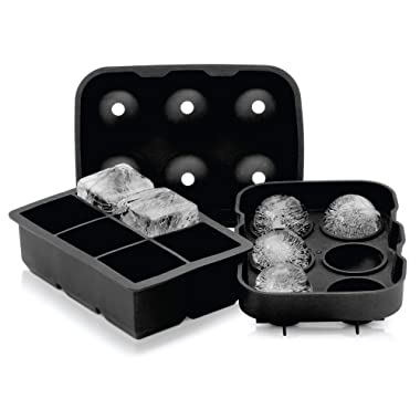 2 Inch Ice Ball Mold + 2 Inch Ice Tray COMBO PACK by Artic Chill, Keeps your Whiskey Chilled Longer Than Ice Cubes, Made from BPA Free and FDA Approved Silicone