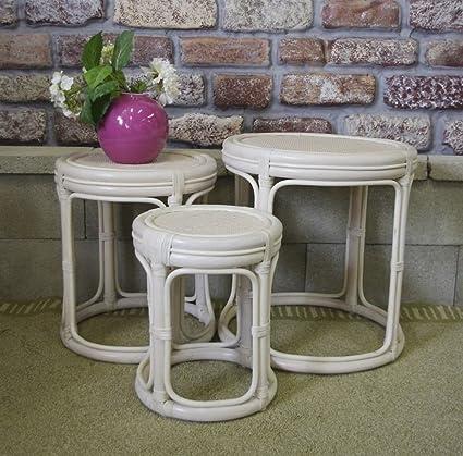 Drum Nesting Tables   Classic Wicker U0026 Rattan NIB (Whitewash)