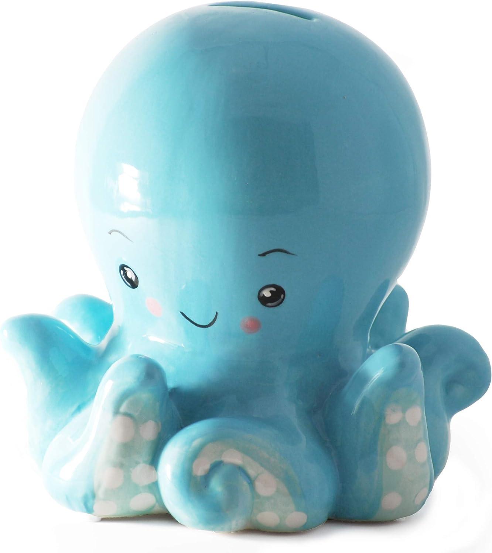 Hapinest Ceramic Octopus Piggy Bank for Boys - Nautical Nursery