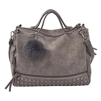 1ccc5c3178531 Handtasche Damen Btruely Mädchen Schulter Messenger Taschen Vintage Groß  Tasche Damen Leder Umhängetasche (Grau)