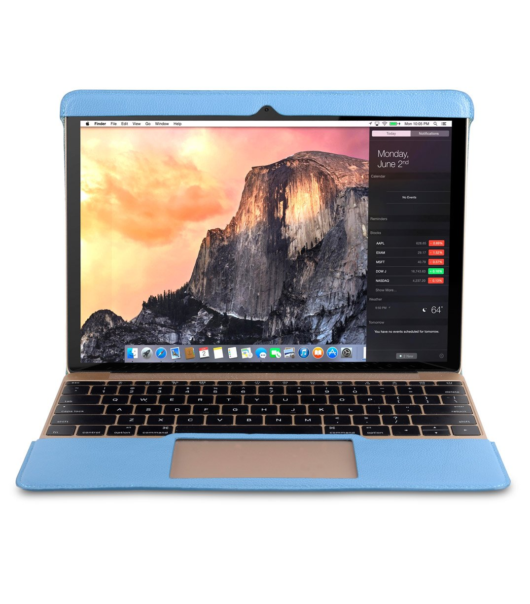 Melkco Easy-Fit permium Genuine Leather Cover for Apple MacBook 12'' - (Blue LC)