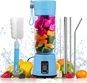 VOKUA Portable Blender, Personal Size Blender USB Rechargeable 4000mAh with 6 Blades for Shakes and Smoothies, Mini Jucier Cup for Sports,Travel,Gym,home and office (Blue)