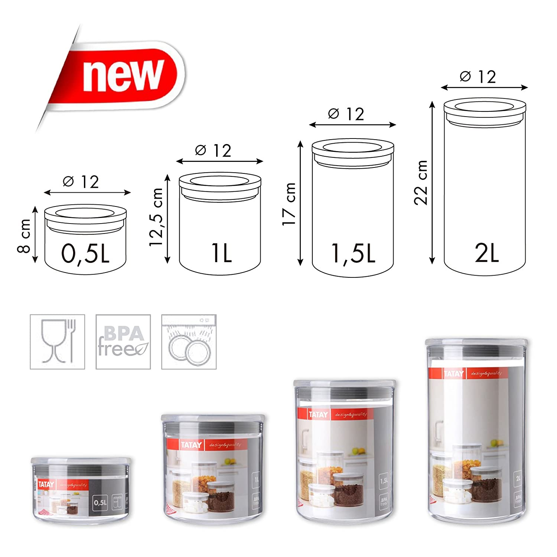 Capacidad 0.5L Tapa Roja PracticFood Lote de 6 Botes de Cocina Herm/éticos Pl/ástico Alimentario de Alta Calidad: Polietileno Libre de BPA Transparentes y Apilables