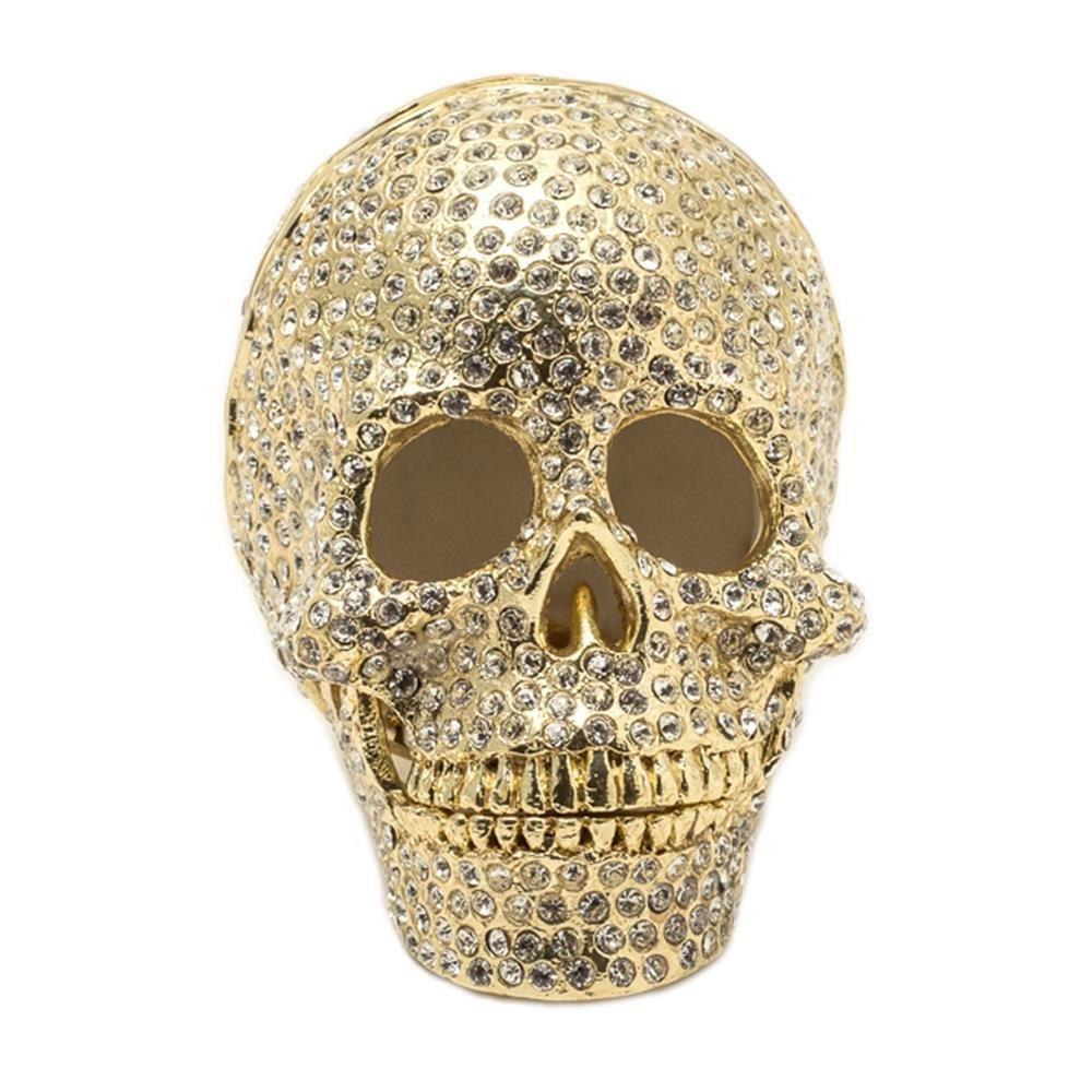 KALIFANO Gold Skull Crystal Jeweled Box made with Swarovski Elements Crystals