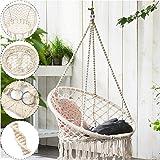 Hammock Chair Macrame Swing, 120KG Capacity, Perfect for Indoor/Outdoor Home, Patio, Deck, Yard, Garden
