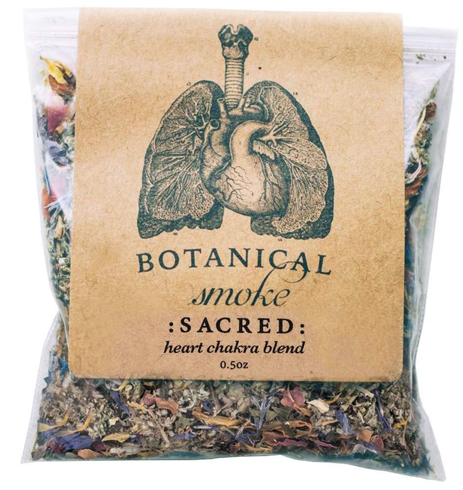 Anima Mundi Botanical Sacred Smoke - Organic & Wildcrafted Loose Herbal Blend with Mugwort, Rose Petals & Calendula Flowers - Heart Chakra Blend (0.5oz)