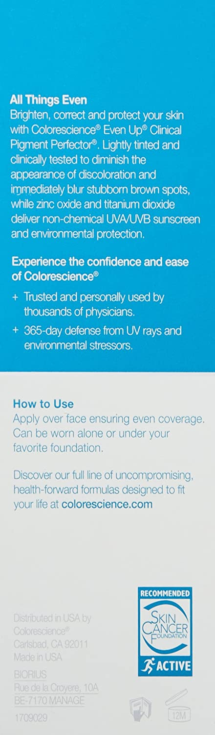 Colorescience Even Up Clinical Pigment Perfector, Water Resistant, Mineral Facial Sunscreen Primer, Broad Spectrum 50 SPF UV Skin Protection, 1 Fl Oz