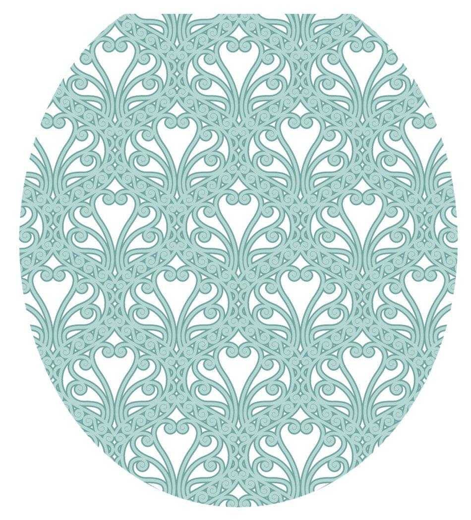 Toilet Tattoos TT-3001-R Queen Ann's Lace Aqua Decorative Applique for Toilet Lid, Round
